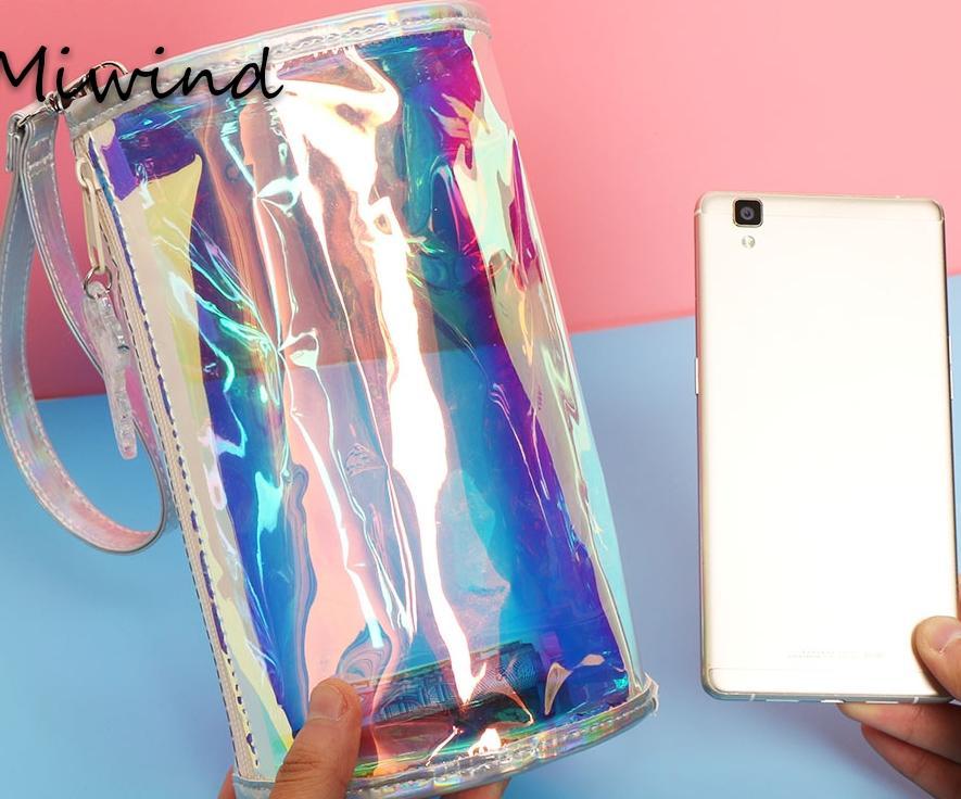 Femmes Mode Sac /À Main Laser PVC Holographique Hologramme Pochette Bourse Mignon Fille Maquillage Sac