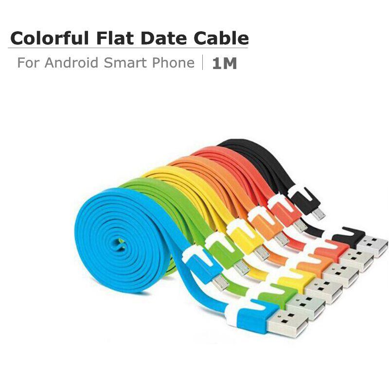 Colourful 1m 3ft 2A Plat Plat Nooodel Micro Cavi dati USB Adattatore di carica Adattatore morbido Testa di metallo V8 5 Pin Cable per smartphone Android