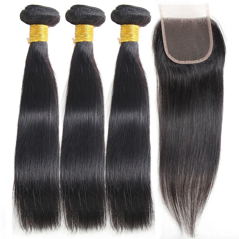 8А бразильский прямые волосы с закрытием перуанский 3 пучки с закрытием кружева 4x4 бразильский кружева закрытие с пучками человеческих волос