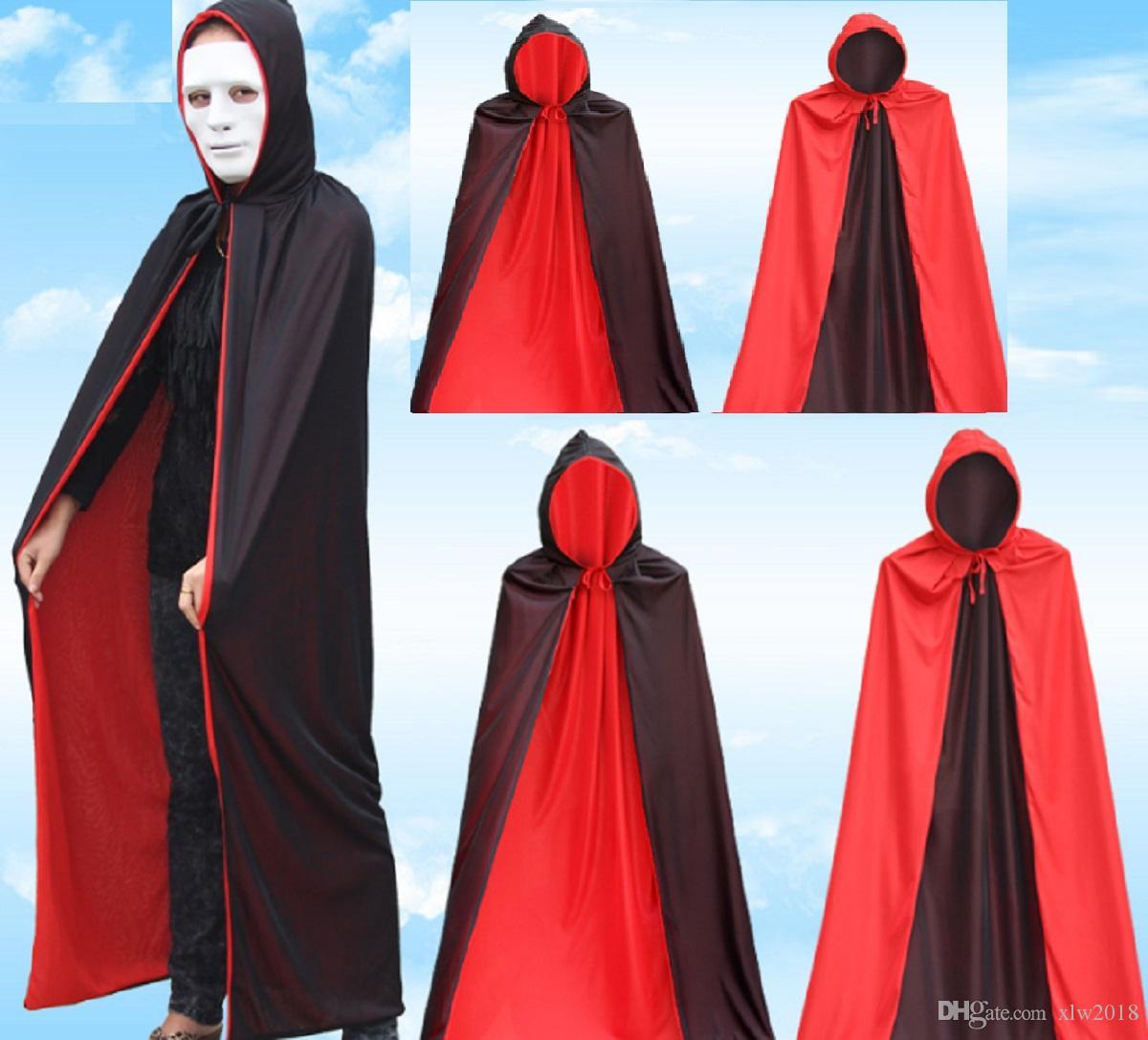 Traje do vampiro dos homens muito legal preto capa com boné, traje de halloween capa para vampiro mágico rosto duplo poliéster manto