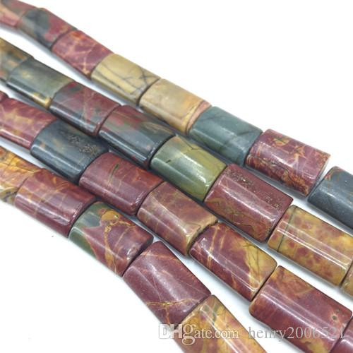 Productos semiacabados de bricolaje 13X18 mm Perlas sueltas oblongas oblatas de jaspe de Picasso multicolor de 15 pulgadas