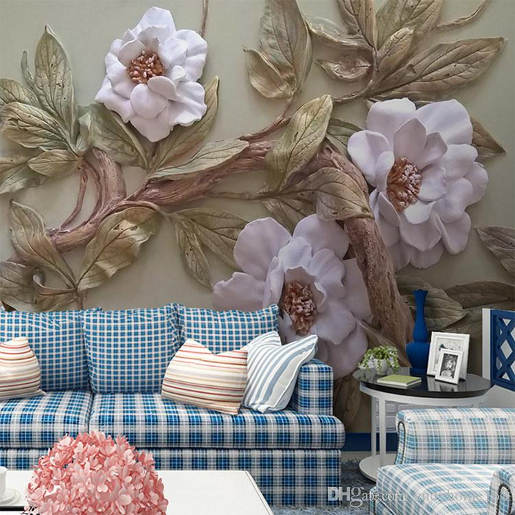 Arkadi Customize Any Size 3D Wallpaper Mural Stereoscopic Relief Flower Tree Living Room Bedroom TV Background Wall Decoration Mural