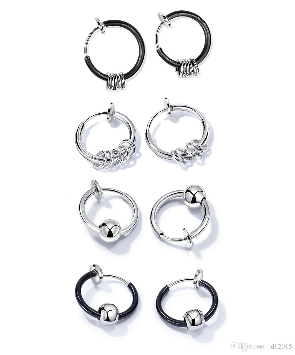 Stainless Steel Circle Beads Huggie Hinged Hoop Earrings for Men Women