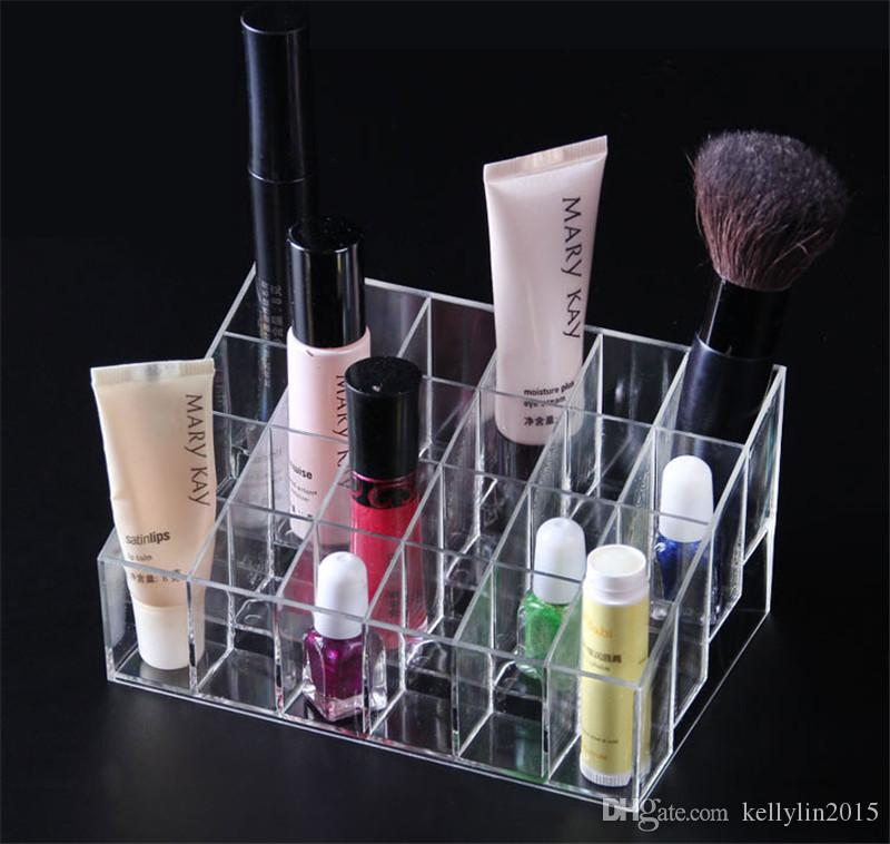 24 Grids Makeup Lipstick Holder Display Stand Clear Acrylic Cosmetic Organizer Mascara Eyebrow Lipstick Make Up Storage Display Rack