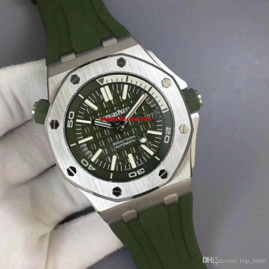 En iyi İzle Vintage V7 Diver 42mm Cal.3120 Otomatik Mens Watch 15710ST 316L Paslanmaz Çelik Kasa Yeşil Dial Yeşil Kauçuk Kayış Gents Saatler