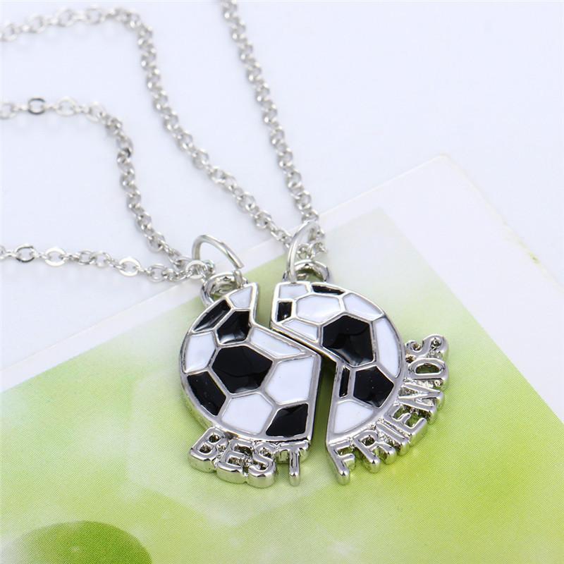 """2pcs / paire """"meilleur ami"""" colliers d'amitié enfants garçons émail collier de football pour enfants cadeaux d'anniversaire de bijoux"""