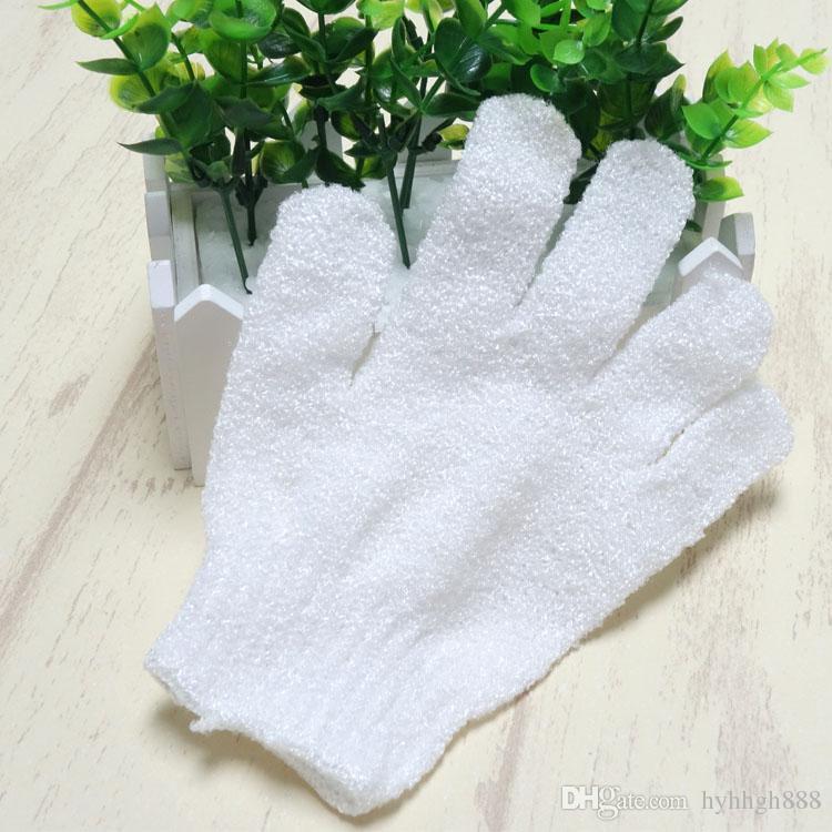 gants de douche en nylon blanc pour le nettoyage du corps Gant de bain exfoliant Gants de bain à cinq doigts