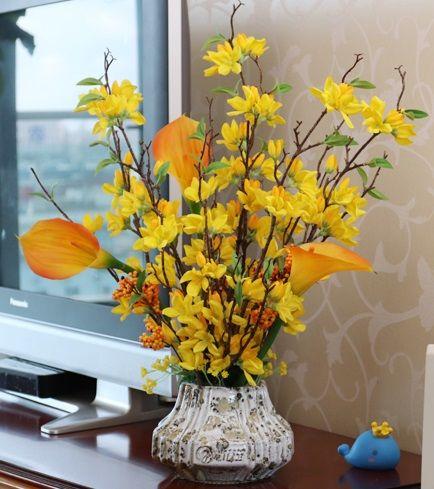 Gelb FeiliandaJJ K/ünstliche Blumen Deko,Winter-Jasmin 1 Blumenstrau/ß Gef/älschte Blumen f/ür Hochzeit Brautstrau/ß Garten Party Wohnzimmer Home Dekor DIY Blumenarrangement
