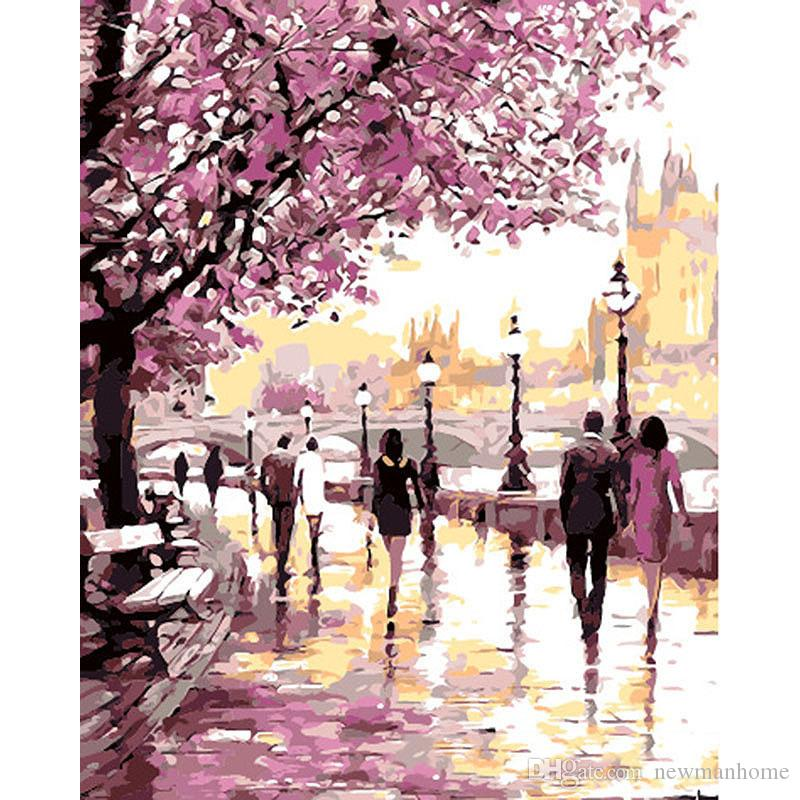 Diy oil painting paint by number rectangle shape color block easy painting no frame daisy path street by river decoration individual packing