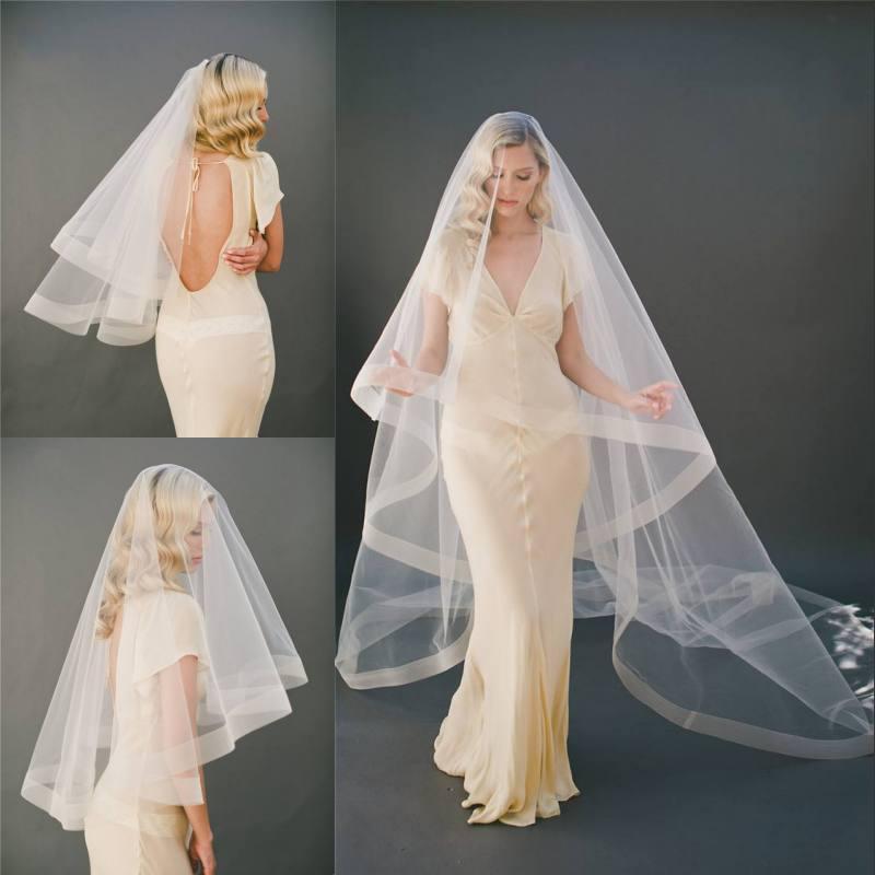 Billig Elfenbein Blusher Hochzeitsschleier Weiche Tüll Eine Schicht lange Kathedrale Weiß Brautschleier mit Kamm