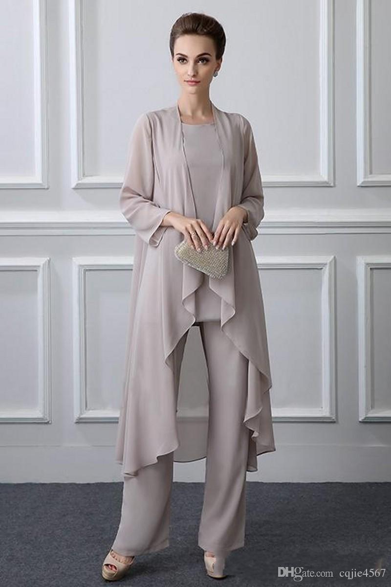 2018 년 새로운 3 조각 플러스 사이즈 신부의 우아한 회색 쉬폰 어머니가 가을 Jestet Vestido De Noiva 588