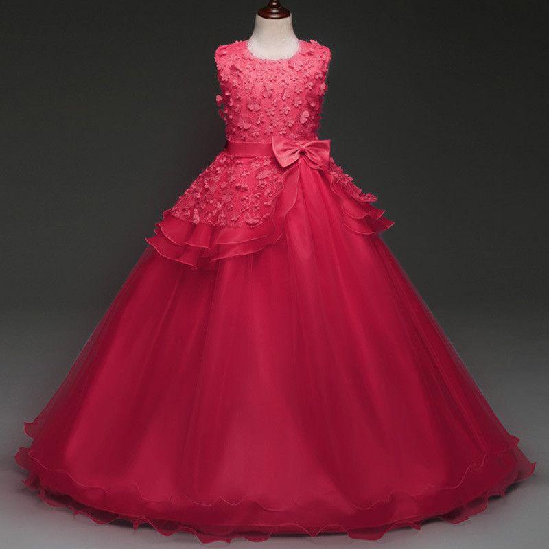 Lovely Lace Children Dress Appliques Beaded Flower Girl Dresses Kids Evening Gowns For Wedding First Communion Dresses vestido comunion