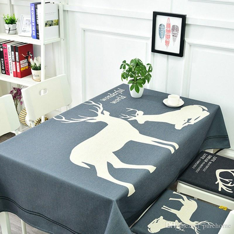 Nordic Styel Thick Cotton Linen Table Cloth Decorative Household Christmas Tablecloth For Rectangular Table Party Banquet Dining Table Cover