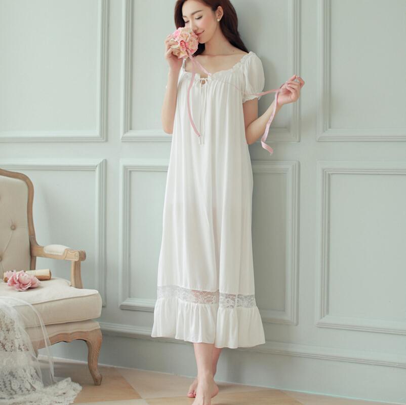 Wholesale- New Ladies Nightgown Cotton Night Dress Short Sleeve Lace Spring Sleepwear Home Night Shirt Nightwear Homewear For Women SQ62