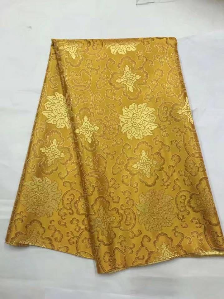 8 метров / шт новая мода золото африканская хлопчатобумажная ткань и хорошая вышивка швейцарский вуаль кружева для одежды JC18-1