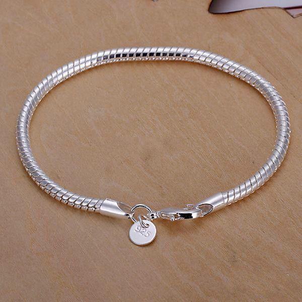 Beste Weihnachten 925 Silber Überzogene Geschenk Schmuck 3mm 8 inch Modeschmuck Charme Schlangenkette Armband Niedrigsten Günstigen Preis
