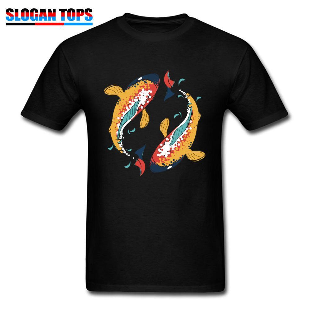 Black T Shirt Men Chinese Style T-shirt Dancing Ying Yang Koi Fish Print Clothes Adult Cotton Tops New Year Tees Free Shipping
