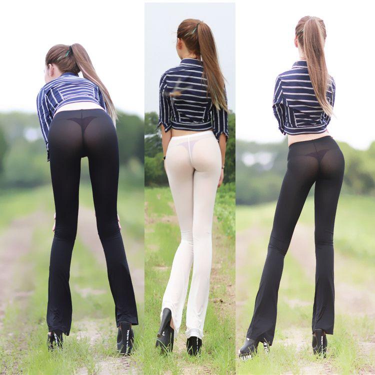 Women Lady Net Yarn Low Waist Pants Sexy Leggings Ultra-thin Stretchy Tights Long Nightclub Transparent