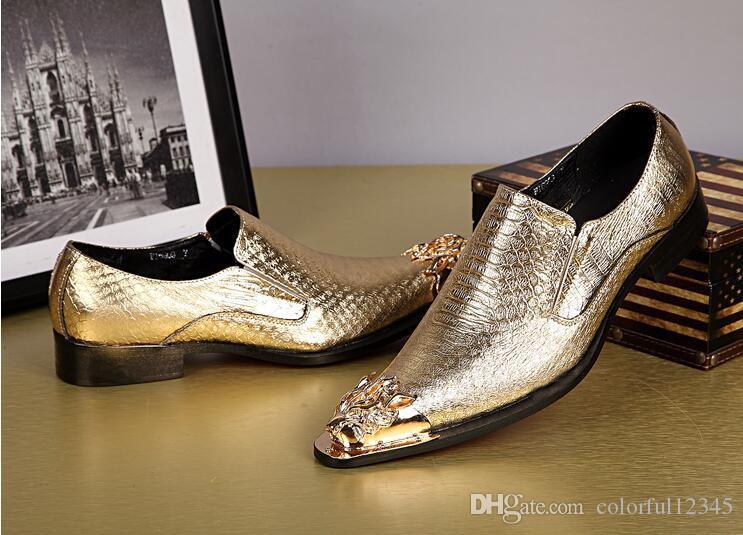 vestir zapatos Oxford de oro de los hombres de moda de cuero genuino y la plata y el metal del dedo del pie del partido y la boda de los hombres de los holgazanes de los hombres de Pisos