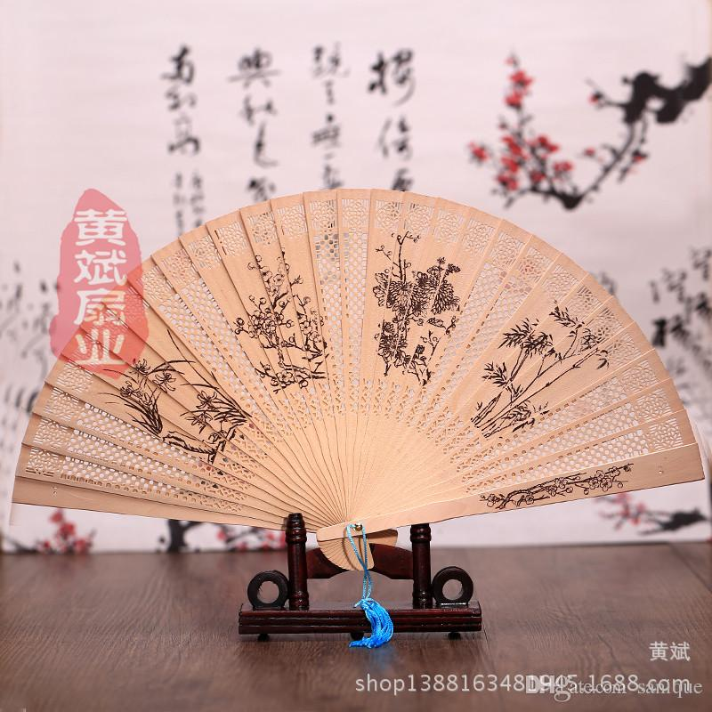 personalized sandalwood folding hand fans with organza bag wedding favours fan party giveaways Free shipping in bulk