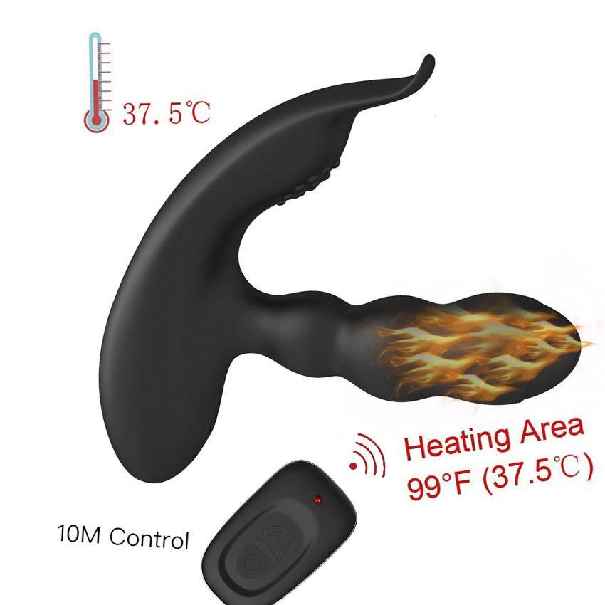 Chauffé USB Recharge Prostate Massager 360 Degrés Sexo Télécommande Sans Fil Prostata Vibromasseur Pour Hommes Anal Sex Toys Adulte Mâle Y1890804