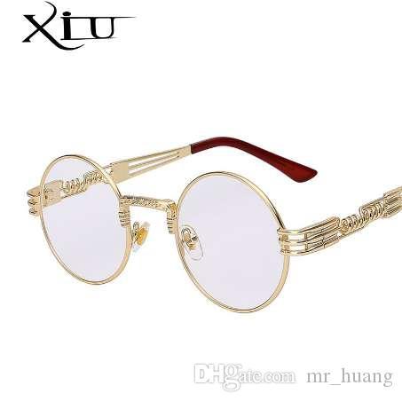 القوطية steampunk نظارات الرجال النساء المعادن wrapeyeglasses جولة ظلال ماركة مصمم النظارات مرآة عالية الجودة uv400