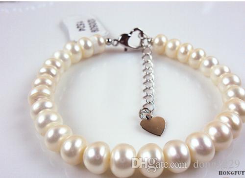Bracciale con perle coltivate Akoya bianco 8-9 mm, 7,5 pollici