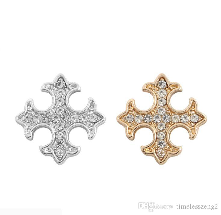 Cross Shaped Brooches With Crystal Rhinestone Costume Pins Mini Shirt Collar Decoration Pendant Exquisite Jewelry Tool