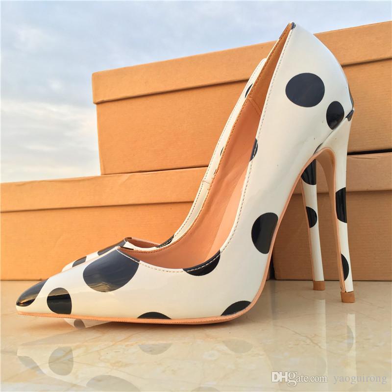 punto blanco y negro zapatos de tacón alto en punta-tacón fino 8,10,12CM zapatos de moda atractivas de las mujeres, a medida 33-45 yardas
