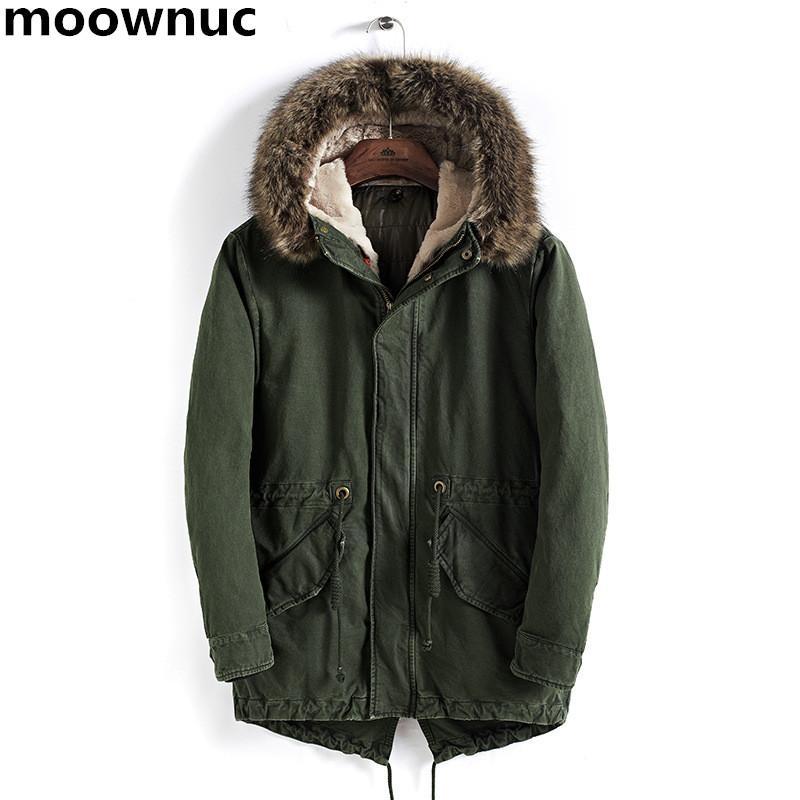 Parka Erkek Mont sonbahar Kış Ceket Erkekler İnce Kalınlaşmak Kürk Kapşonlu termal Dış Giyim Coat Casual Erkek ParkasTops artı boyutu M-4XL