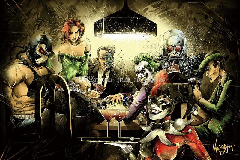 Бэтмен Джокер Харли Куинн играть в покер искусство холст плакат современный HD печати картина маслом стены искусства живопись картина плакат для декора комнаты
