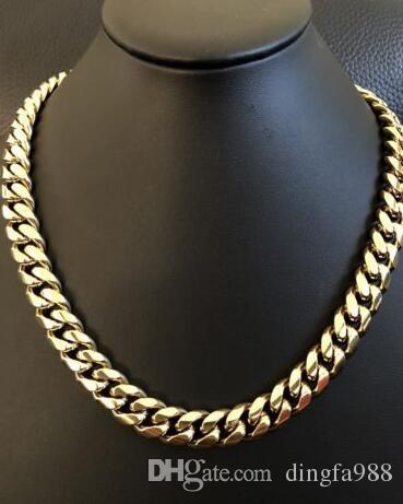 """Męskie Kubańskie Miami Link 20 """"Choker Chail 14K Gold Over Stal Nierdzewna 12mm 136g"""