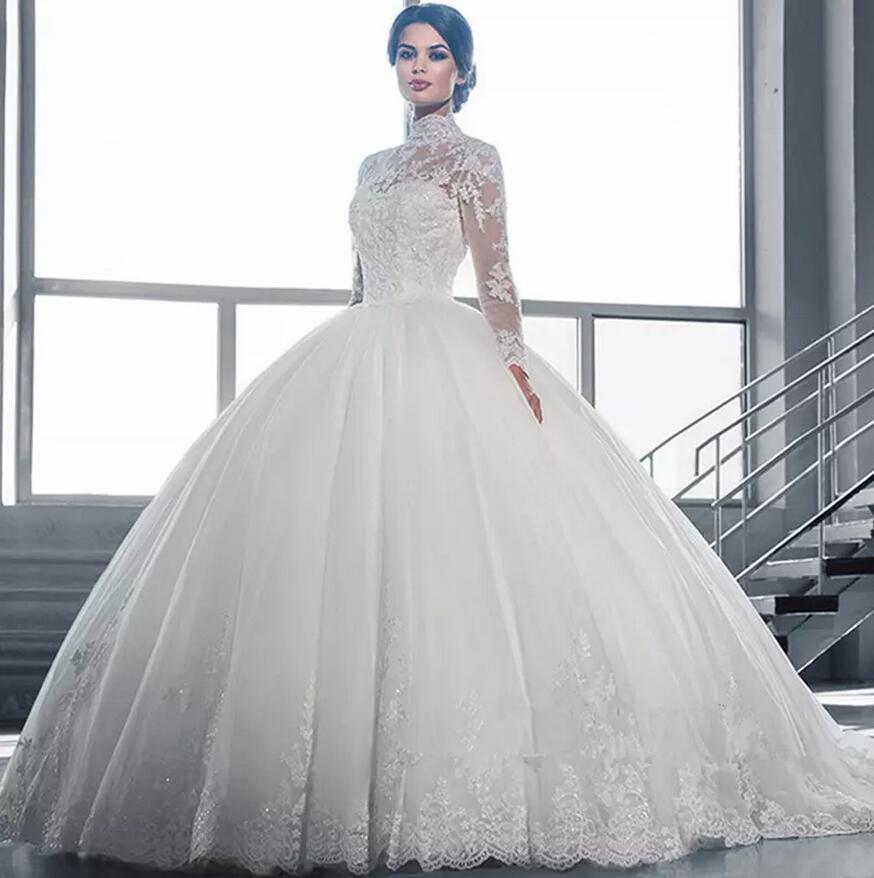 Col haut 2020 Vintage long Sheer manches en dentelle robe de bal robes de mariée Applique Tulle africaine Robes de mariée Plus Size Robes De Noiva