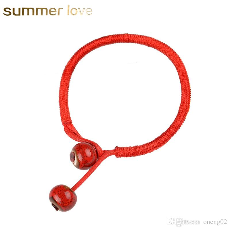Women Lucky Bracelets Bead Red String Ceramic Bracelets & Bangles Handmade For Men Women Accessories Lovers Lucky Jewelry