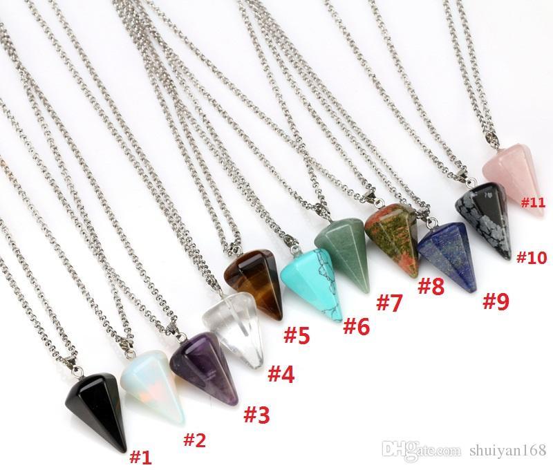 US Retail Lot Crystal Stone Quartz Pendulum Healing Dowsing Reiki Chakra Pendant