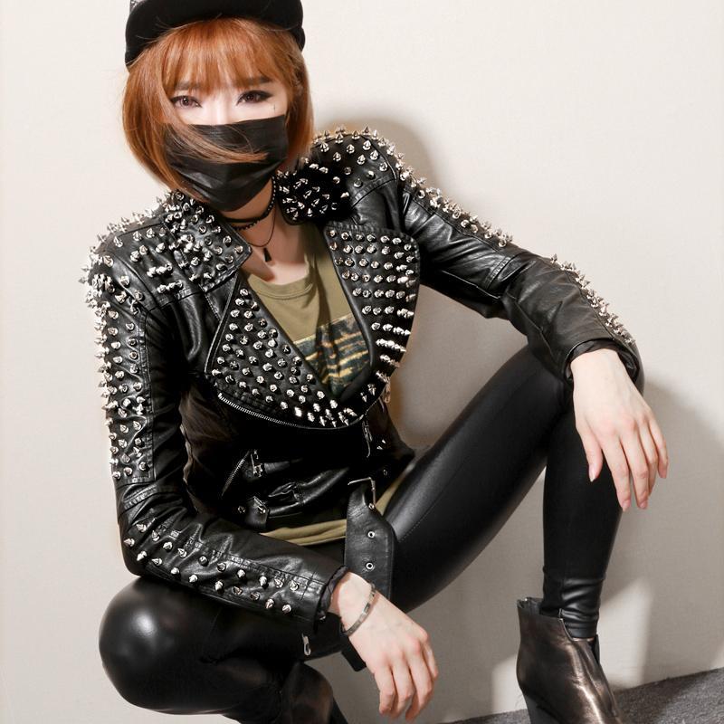 Black Fashion Rivets Punk Jacket Slim Fit Short Motorcycle Biker Leather Jacket for Women Girls