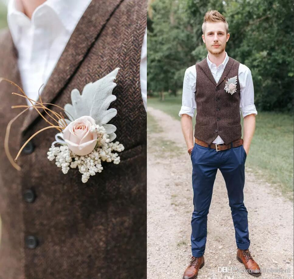 2019 العريس سترات براون تويد الصوف متعرجة سترات النمط البريطاني رجل البدلة سترات يتأهل رجل ثوب سترة مخصص الزفاف صدرية
