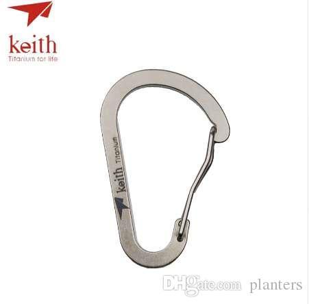 Gancio in titanio Forma fibbia 7.5g Strumento Outdoor TI1170 Attrezzature tascabile Carabiner Keith Clip EDC Camping D Catena IKXSH