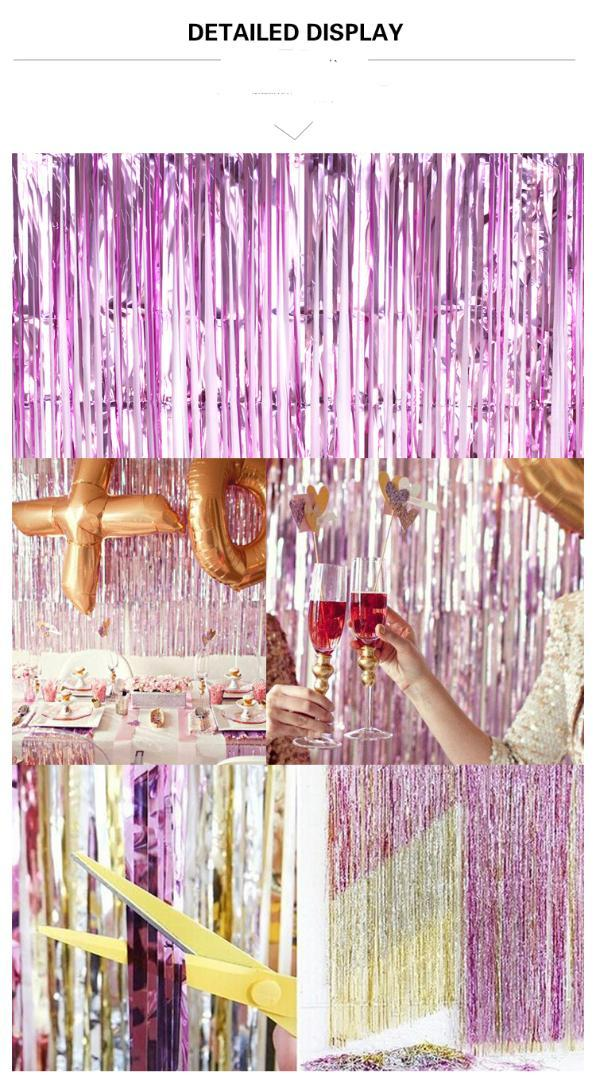 92 * 245 cm Folienvorhang Metallic Goldfolie Fransenvorhang Lametta Fransen Tür Fenster Party Dekoration