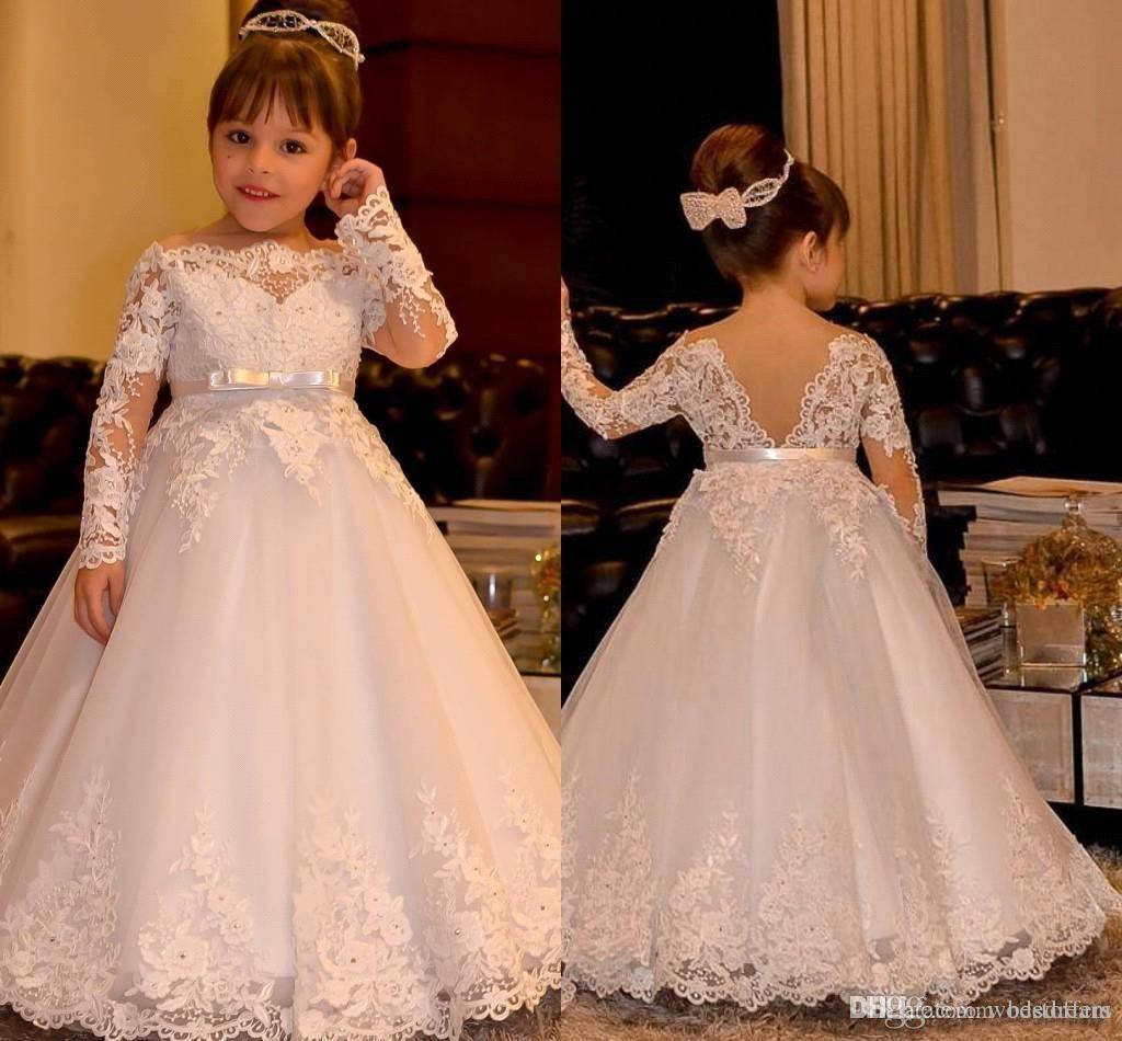 Princesse à manches longues Vintage Flower Girl robes pure cou dentelle Appliques étage longueur robe Flowergirl Pageant robes avec noeud