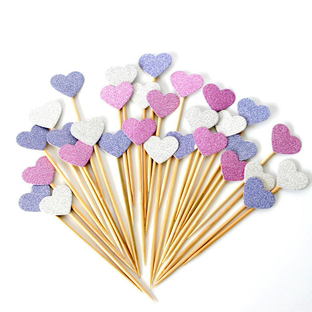 Hecho a mano Encantador Rosa Corazón Cupcake Toppers Cake Party Supplies Cumpleaños Decoración de Boda 120 Piezas / bolsa