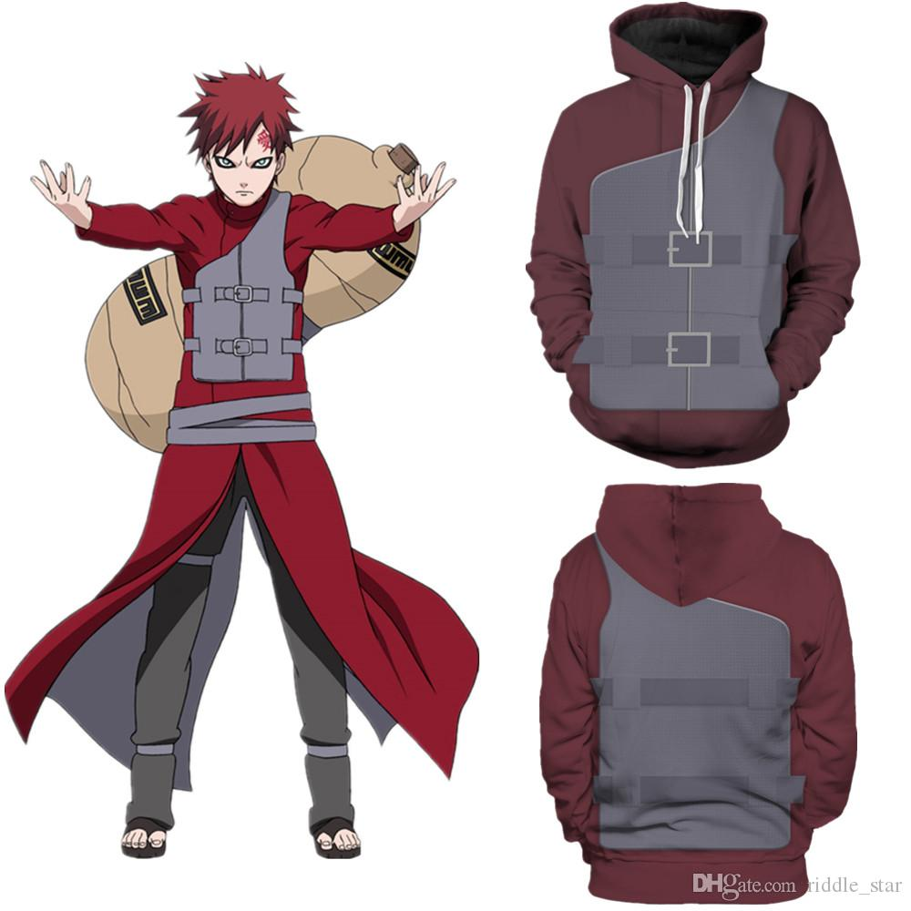 Asya Boyut Japonya Anime Unisex Naruto Sabaku No Gaara 3D Unisex Cosplay Kostüm Casual Ceket Hoodie