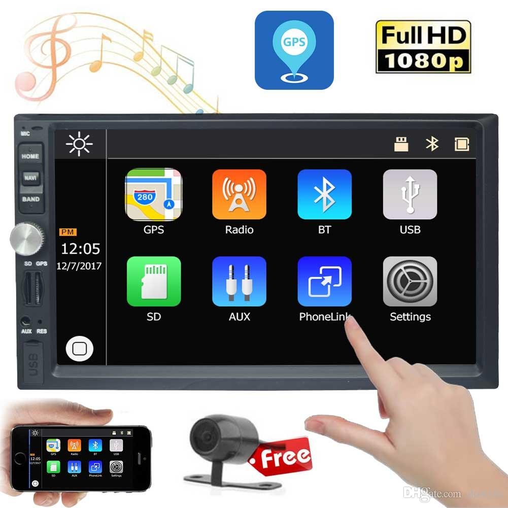 EinCar 2 Din In Dash Double Din Car Headunit Stereo GPS Navigation 7'' Car MP3 MP5 Player Bluetooth 1080p Video USB Steering Wheel
