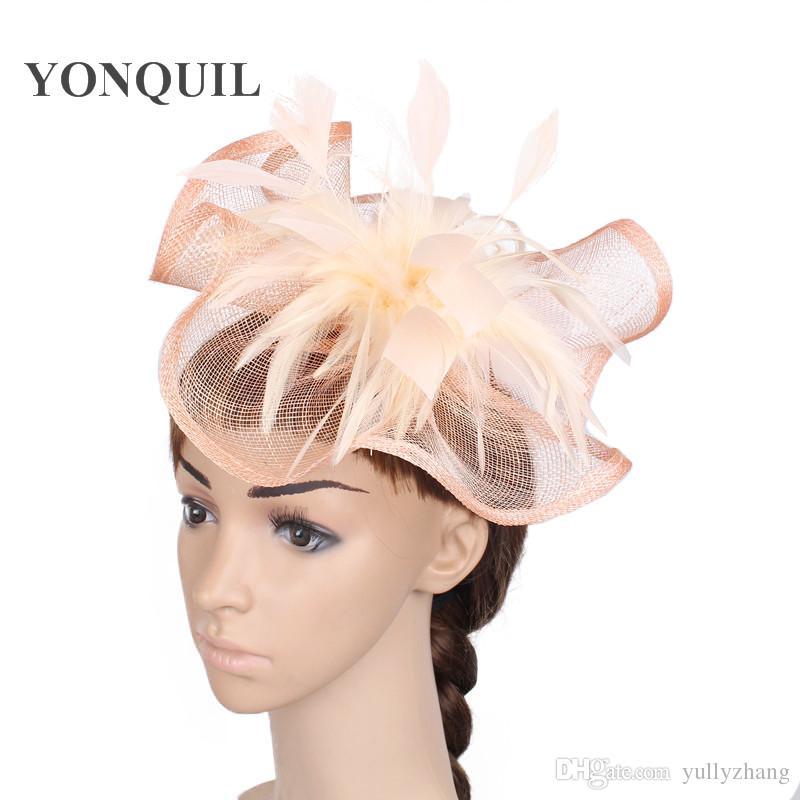Silver /& lilas bibi chapeau//choisir tout satin//plume couleur