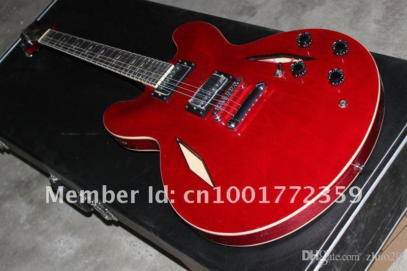 맞춤 상점 Trini Lopez 335 일렉트릭 기타, 스톱 바, 골동품 빨강 기타 - 무료 배송