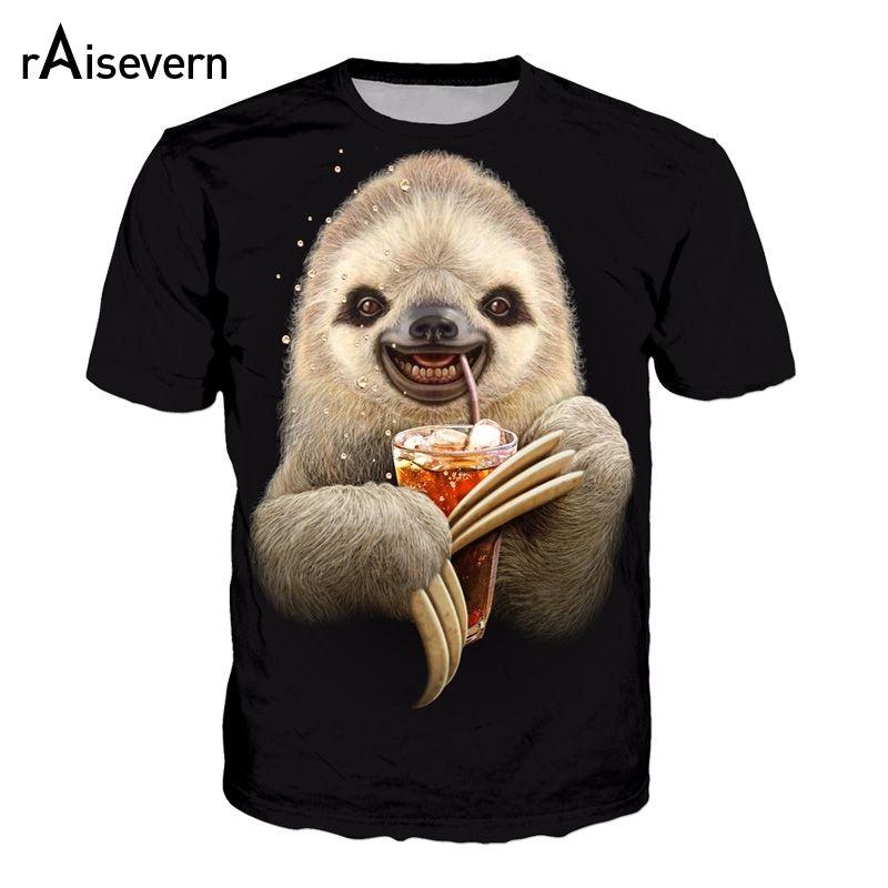Raisevern 3D T Shirt Funny Sloth Drink Coffee HD Printed Harajuku Black Tee Tops Short Sleeve Men Women Unisex T-shirts Dropship