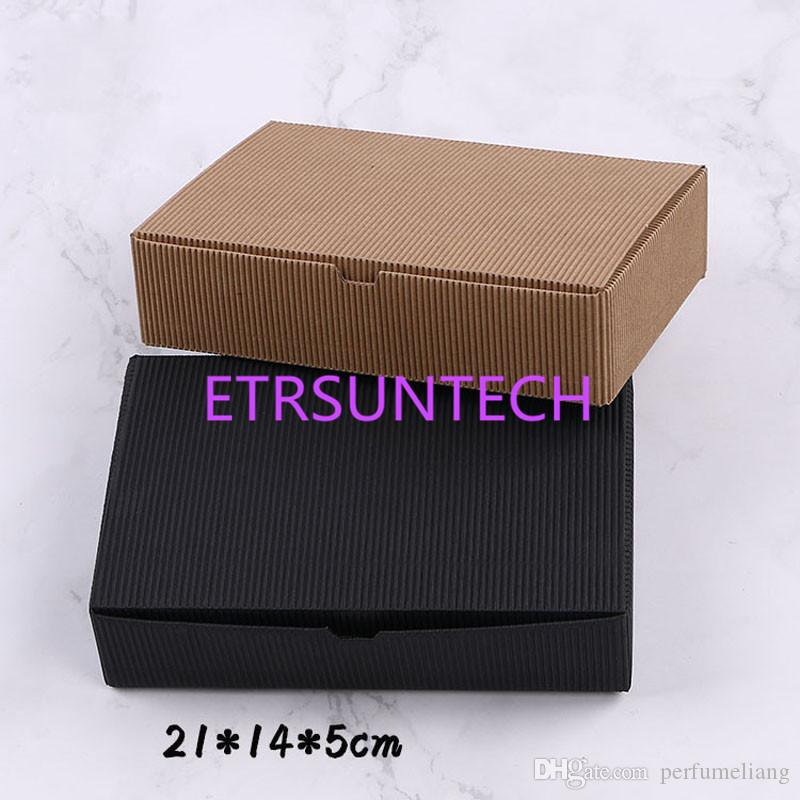 Büyük Siyah / Kahverengi Oluklu Kağıt Mooncake Kutusu Dikdörtgen Yumurta Sarısı Hediye Paketi Kutuları (21 * 14 * 5 cm) Kek Kutusu QW7800