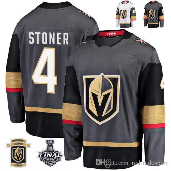 2018 Stanley Cup Final Vegas Golden Knights Clayton Stoner Hockey Jerseys Stitched 4 Clayton Stoner Jersey Custom Name Grey Inaugural Patch