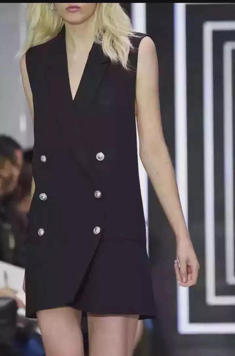 Longue Gilet Femmes Sans Manches Veste Costume Manteau Dames Sexy Dos Nu Slim Double Gilet Poitrine Veste Femme Gilet Chalecos Mujer
