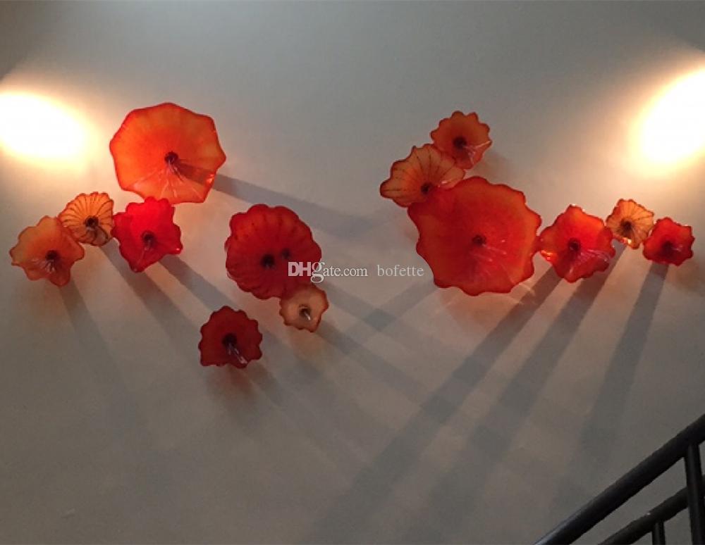 Домашнее украшение Чихули Стиль Christmas Party Бесплатная доставка ручной выдувного стекла настенная плитка Art Decor Designer